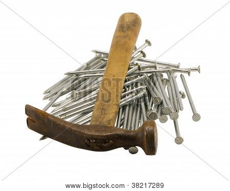 Retro Rusty Hammer Nails Pile Isolated