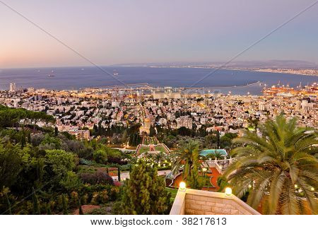 View From Mount Carmel To Port And Haifa In Israel During Sunset