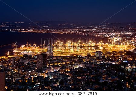 View From Mount Carmel To Port And Haifa In Israel With Night Lighting