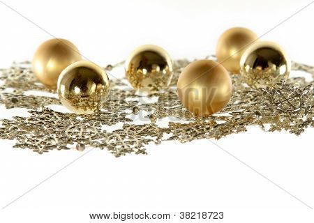 Christmas Decoration Composition With Garland And Balls