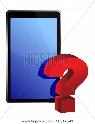 Tablet And Question Mark Illustration