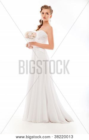 Beautiful Woman With Bunch Of Flowers, White Wedding Dress