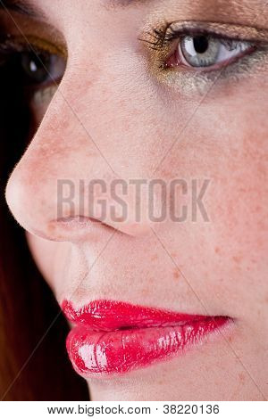 Beautiful Young Woman Portrait With Freckles