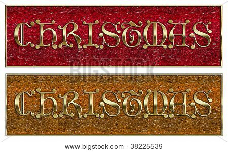 Golden Christmas On Glass Background