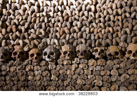 Paris: Circa May 2011: Scary Skulls and Bones in the Catacombs of Paris i