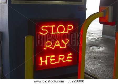 Stop: Pay Here Neon Sign