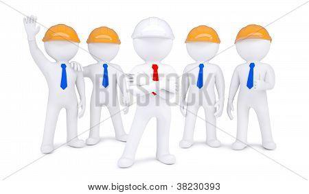Cinco hombres 3D en cascos