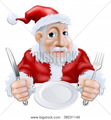Happy Cartoon Santa Ready For Christmas Dinner