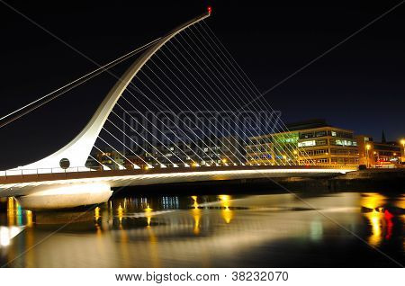 night scene in Dublin over river Liffey