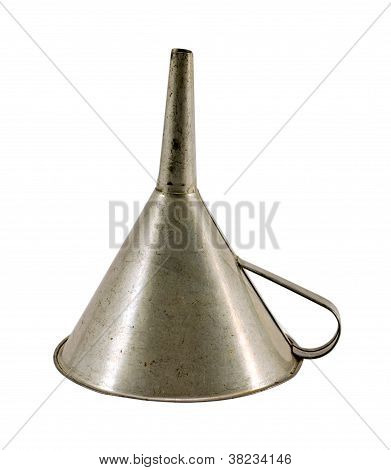 Retro Metal Funnel Hopper Tool Isolated On White