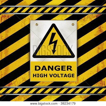 Sign Caution Blackboard Danger High Voltage