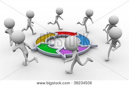 3D People Running Around Diagram