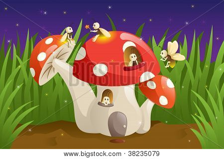 Mushroom House With Fireflies