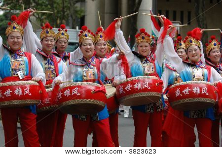 Drummers In Chinese New Year Parade