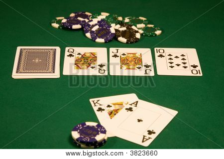 Casino Poker On Green Table