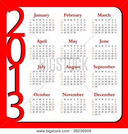 Calendar for Year 2013