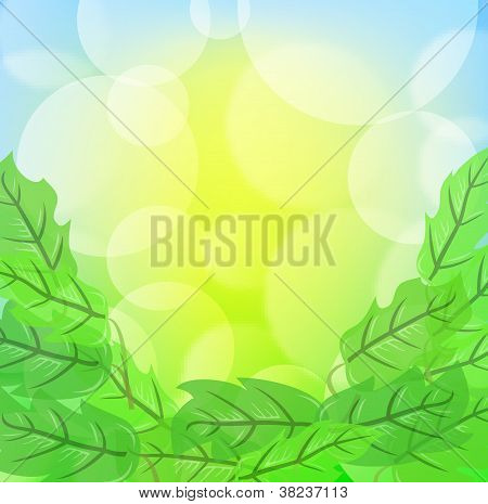 Green Spring Background With Leafage And Blurry Light