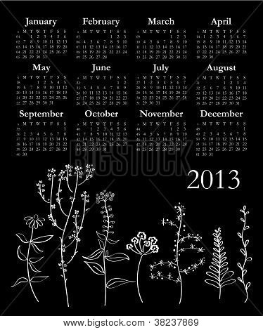 Black And White 2013 Calendar