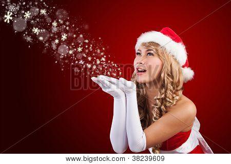 Beautiful Mrs Santa Claus Wishing Merry Christmas