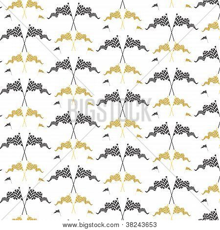 Gold And Black Race Flags Pattern