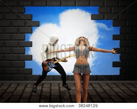 People Posing Over Broken Brick Wall
