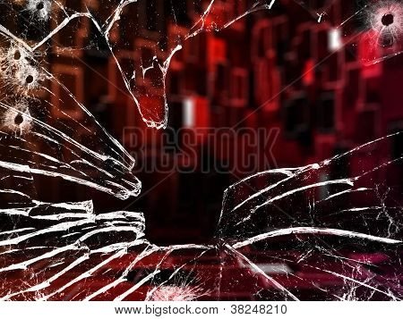 Red Room Through Shattered Glass