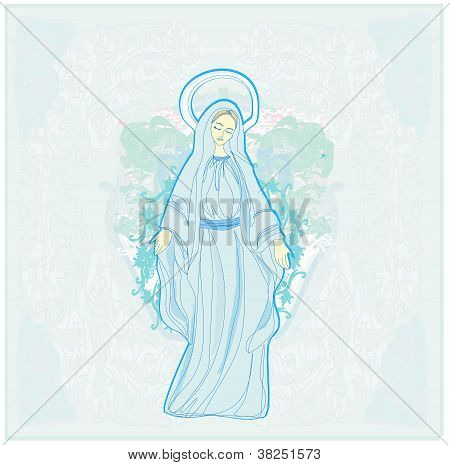 Blessed  Mary on abstract background , vector illustration