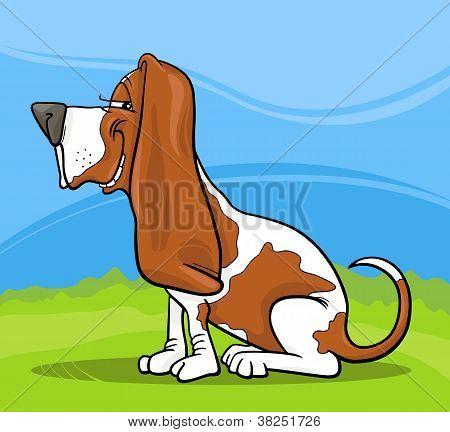 Ilustración de dibujos animados de perro Basset Hound