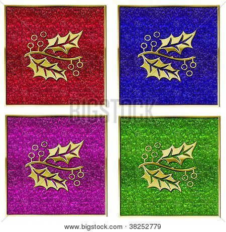 Golden Holly On Glass Background Set