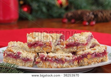 Holiday Cranberry And Peanut Butter Bars
