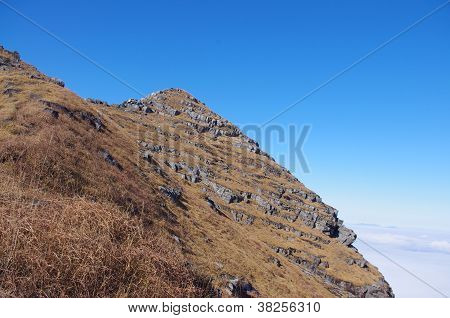 Mountaintop with white rocks and yellow grass