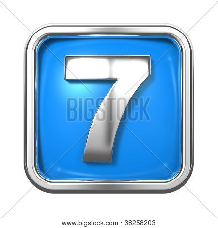 Silver Numbers in Frame, on Blue Background.
