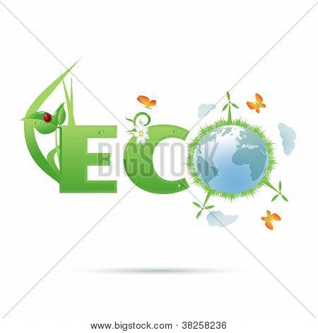 Eco-planet tekst symbool