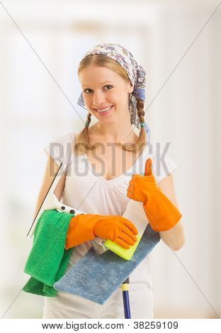 Happy Housewife Shows A Thumb Up