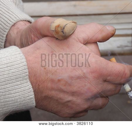 Mature Male Smokers Hands