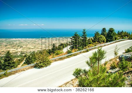Road in mountain range at Olympos Mountains