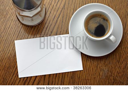 Coffe Cup Drink And Blank Note Card
