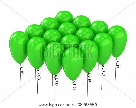 Balloons Of Colorful Green Rising Up