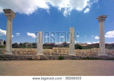 Ancient Basilica Columns Of Creek Colony Chersonesos