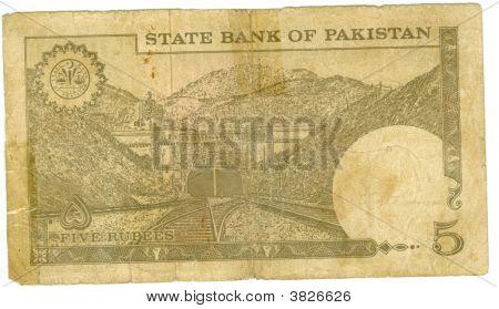 5 Rupee Bill Of Pakistan