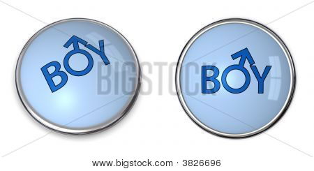 Button Blue Word Boy/Male Gender Symbol
