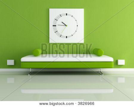 Velvet Sofa And Clock