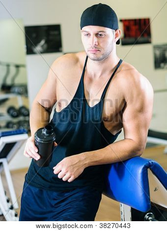 Man relaxing in gym