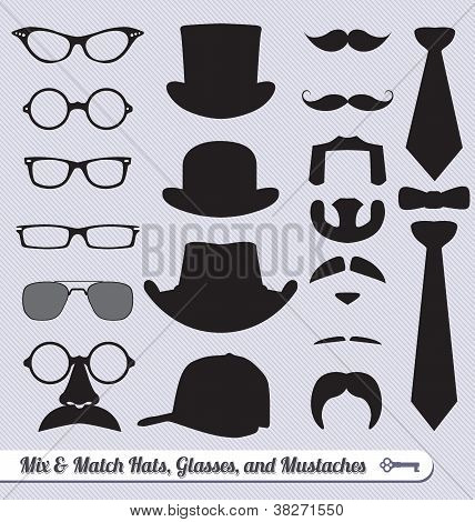 Mix and Match Glasses, Hats, Mustaches and Ties