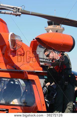 Us Coast Guard Pilot Prepares For Flight