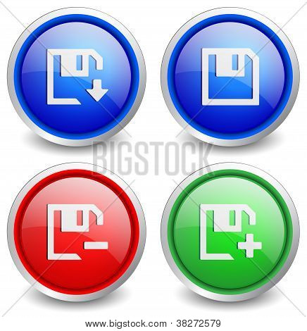 Set of 4 popular buttons - save