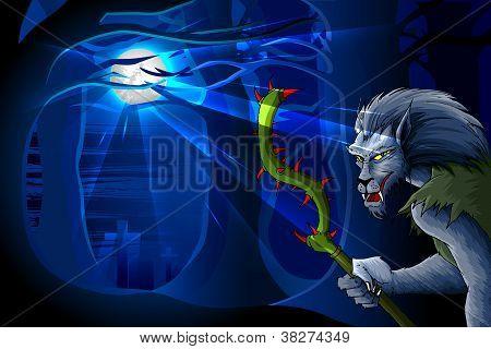Wolf Man in Halloween night