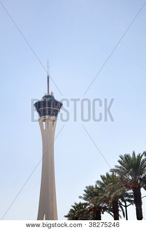 Stratosphere Tower And Palm Trees In Las Vegas, Nevada