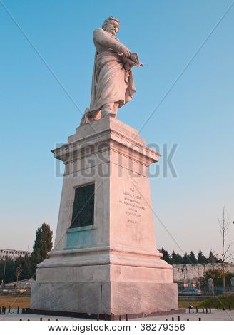 low angle view of historic statue at the parliament buildings in bucharest romania