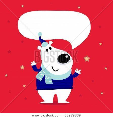 Cute Cartoon Polar Bear With Speaking Bubble